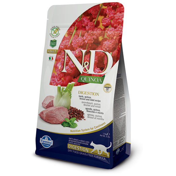 N&D CAT GF Quinoa Digestion – Lamb & Fennel 1,5kg