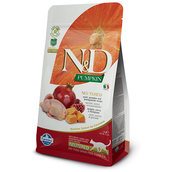 N&D CAT Neutered – GF Pumpkin Quail & Pomegranate 1,5kg