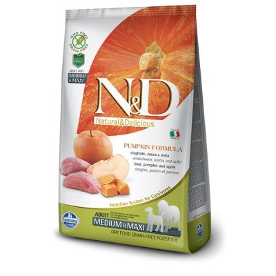 N&D PUMPKIN Grain Free ADULT MEDIUM/MAXI - Boar & Apple 2,5kg 1
